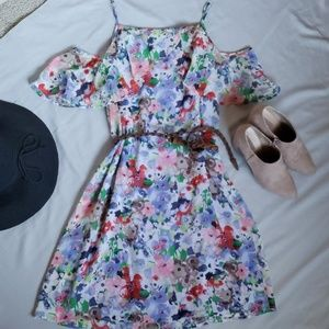 Emma & Michelle Cold Shoulder Floral Dress